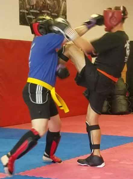 Kickboxing demonstration at Mike Price's Martial arts self defense class