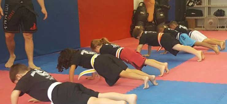 Children doing push ups in Mike Price's Martial Arts Junior Program